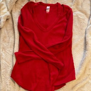 Red long sleeve shirt w/ detail on top
